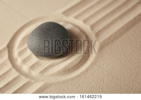 Japanese Zen garden. Pebble on a sand