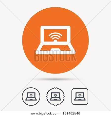 Computer with wifi icon. Notebook or laptop pc symbol. Orange circle button with web icon. Star and square design. Vector