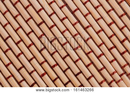 Bamboo place mat texture for background close-up image.