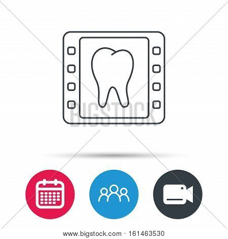 Dental x-ray icon. Orthodontic roentgen sign. Group of people, video cam and calendar icons. Vector