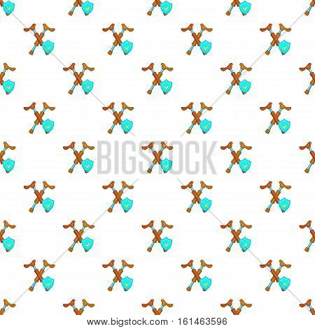Crossed crutches and sky blue shield pattern. Cartoon illustration of crossed crutches and shield vector pattern for web