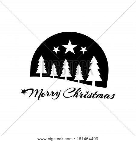 Merry Christmas black stamp design emblem, illustration