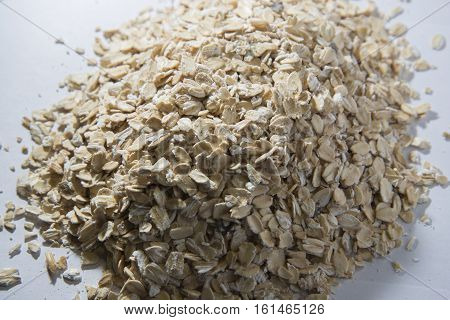 Oats Scattered On The Table. Bunting Photographed In Close-up.