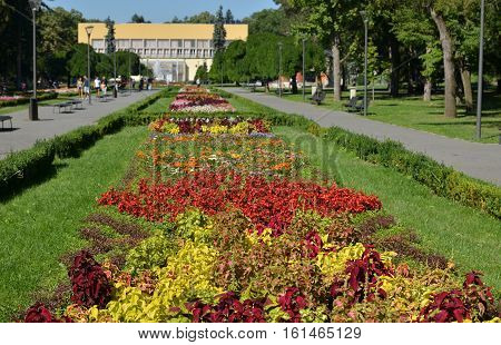 Lawn with colorful flowers and paths in public park of Vrnjacka Spa in Serbia