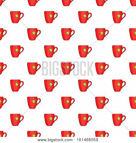 Red cup of tea pattern. Cartoon illustration of red cup of tea vector pattern for web