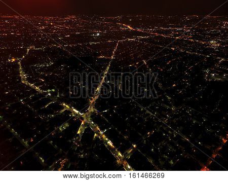 athens neighborhood by night from above greece