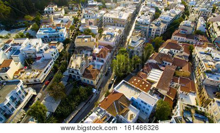 Athens neighborhood greece plaka from above drone