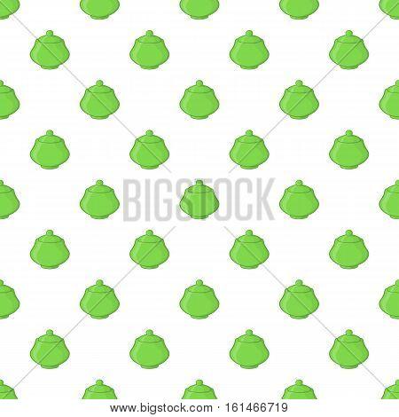 Green sugar bowl pattern. Cartoon illustration of green sugar bowl vector pattern for web