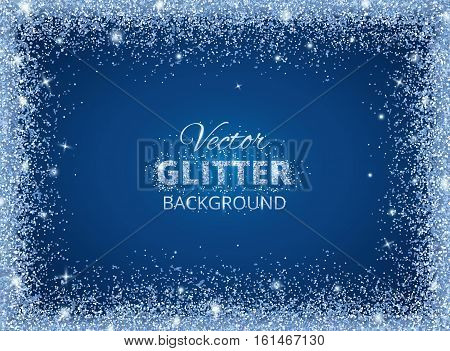 Shiny background with glitter frame and space for text. Vector glitter decoration, Snow border. Great for christmas and birthday cards, wedding invitation, party posters and flyers.