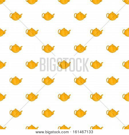 Yellow teapot pattern. Cartoon illustration of yellow teapot vector pattern for web