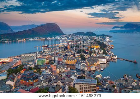 Alesund, Norway. Cityscape image of Alesund, Norway at dawn.