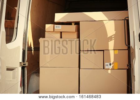 Delivery service van loaded with packages