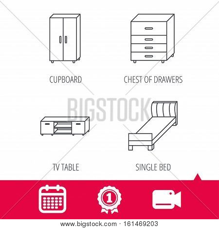Achievement and video cam signs. Single bed, TV table and cupboard icons. Chest of drawers linear sign. Calendar icon. Vector