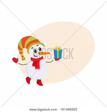Cute and funny little snowman holding Christmas gift, present, cartoon vector illustration isolated with background for text Funny snowman in hat and mittens with Xmas gift, holiday decoration element