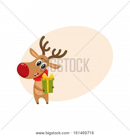Funny Christmas reindeer in red scarf holding a gift, present, cartoon vector illustration with background for text. Red nosed deer in red scarf with Christmas present, holiday decoration element
