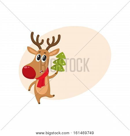 Funny reindeer in red scarf holding a Christmas tree, cartoon vector illustration isolated with background for text Red nosed deer in red scarf with Christmas tree, holiday decoration element