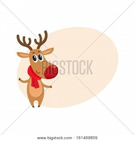 Christmas reindeer in red scarf, cartoon vector illustration isolated with background for text. Christmas red nosed deer, holiday decoration element