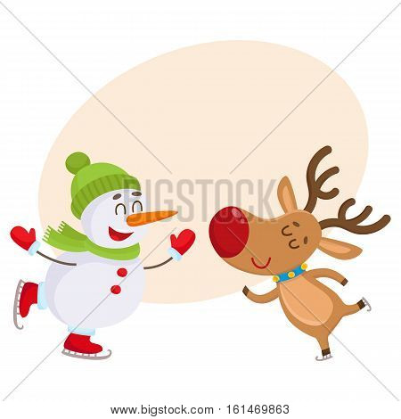 funny reindeer and snowman skating on ice, cartoon vector illustration isolated with background for text. Poster, banner, postcard, greeting card design wit Deer and snowman, Christmas attributes