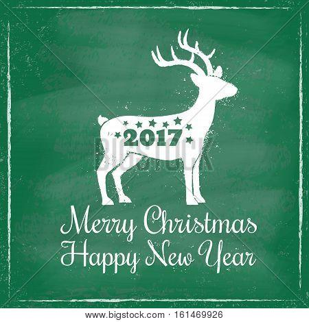 Vector vintage illustration of a deer for Christmas on chalkboard background