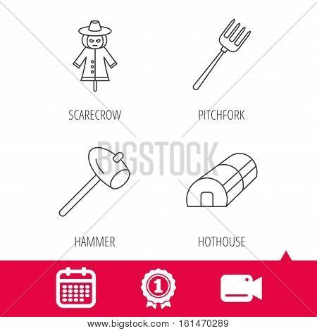 Achievement and video cam signs. Hammer, hothouse and scarecrow icons. Pitchfork linear sign. Calendar icon. Vector