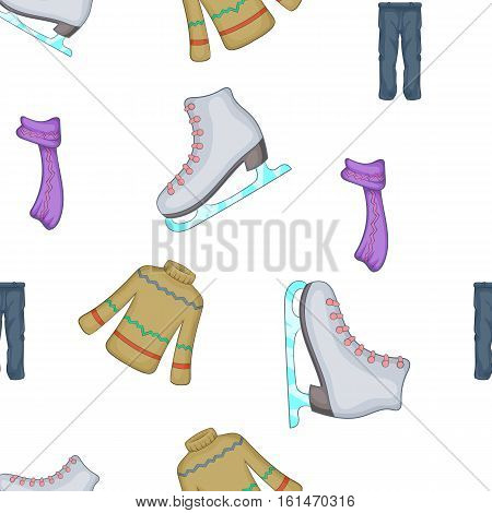 Clothing for winter fun outdoors pattern. Cartoon illustration of clothing for winter fun outdoors vector pattern for web