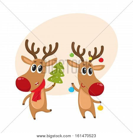 Two reindeer with Christmas toys and tree, cartoon vector illustration isolated with background for text. Christmas red nosed deer, holiday decoration element