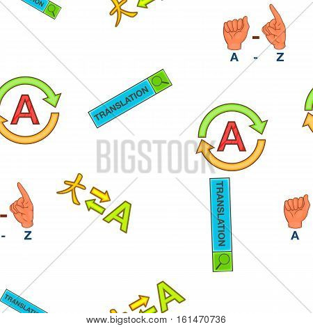 Translation elements pattern. Cartoon illustration of translation elements vector pattern for web