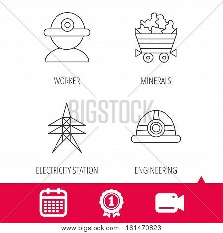 Achievement and video cam signs. Worker, minerals and engineering helm icons. Electricity station linear sign. Calendar icon. Vector