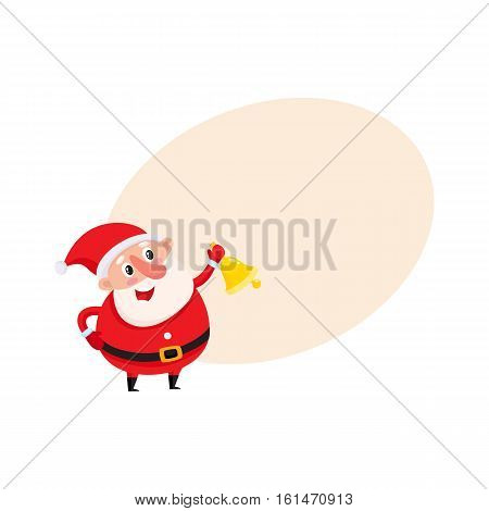 Cute funny Santa Claus ringing golden Christmas bell, cartoon vector illustration isolated with background for text. Santa Claus ringing bell, Christmas attribute, holiday season decoration element