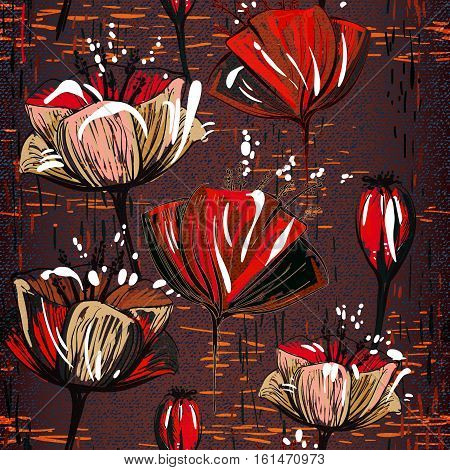 Vector colorful tulips on the texture background. Seamless pattern can be used for wallpapers, pattern fills, web page backgrounds, surface textures