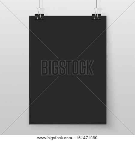 Poster on binder clips on grey wall. Rectangular black paper mock up. Modern vertical framings for your design. Vector blackboard paper template for lettering drawing presentations or quotes.