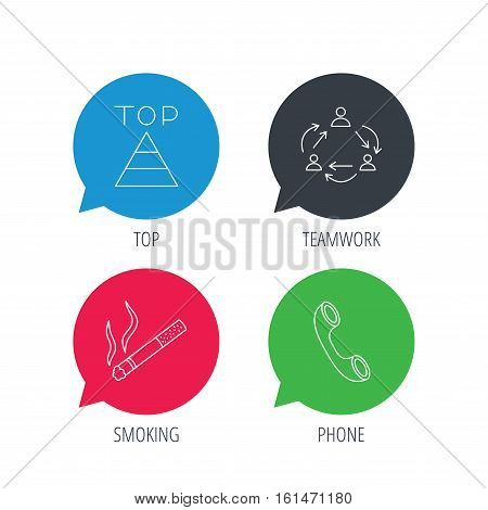 Colored speech bubbles. Teamwork, smoking and phone call icons. Top linear sign. Flat web buttons with linear icons. Vector