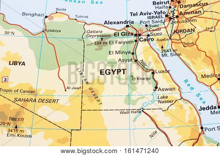 Egypt physical map horizontal close up picture.