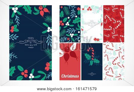Vintage Merry Christmas And Happy New Year background set. Berries sprigs and leaves stylish vector illustration on winter greeting card. Good for cards posters and banner design collection