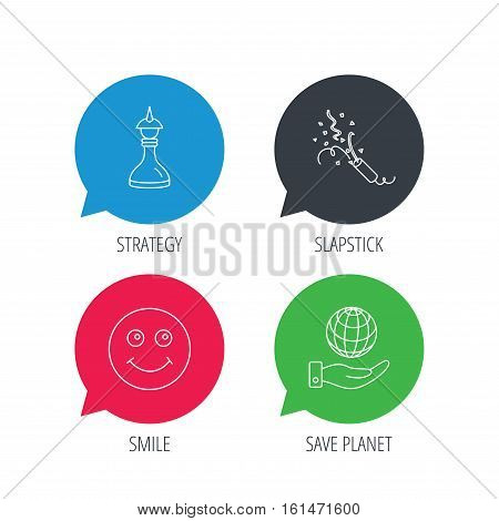 Colored speech bubbles. Save planet, slapstick and strategy icons. Smile linear sign. Flat web buttons with linear icons. Vector