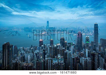 Hong Kong skyline view from the victoria peak Hong Kong China