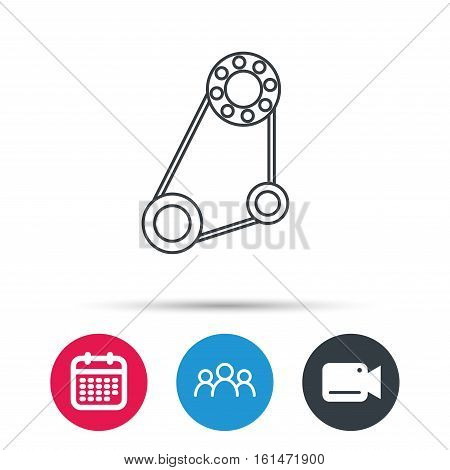 Timing belt icon. Generator strap sign. Repair service symbol. Group of people, video cam and calendar icons. Vector