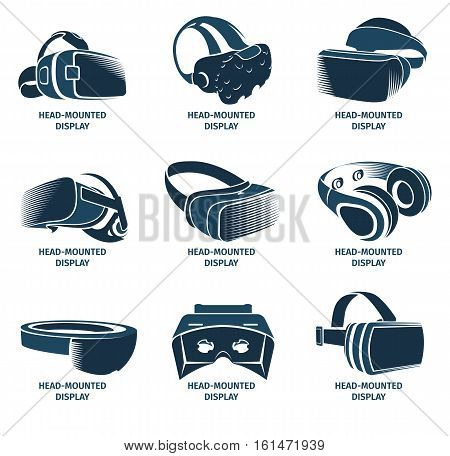 Isolated vr headset logotype set. Virtual reality helmet logo. Head-mounted display icon collection. Logo device. Futuristic gaming element. Simulation smartglasses vector illustration vr