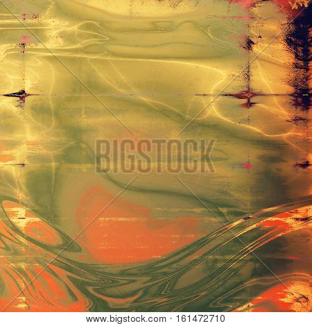 Abstract scratched background or frame with weathered grunge texture. Ancient style backdrop with different color patterns: yellow (beige); brown; green; gray; red (orange); purple (violet)