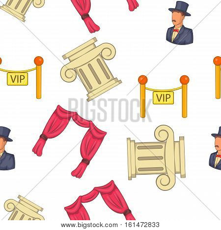 Theatre acting performance pattern. Cartoon illustration of theatre acting performance vector pattern for web