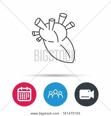 Heart icon. Human organ sign. Surgical transplantation symbol. Group of people, video cam and calendar icons. Vector