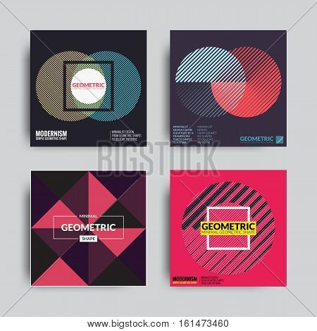 Abstract Poster Set. Art Graphic Backgrounds in Retro Swiss Flat Style. Isolated Figure, Shape, Icon, Logo for Covers, Placards, Posters, Flyers, Banner Designs. Vector Illustration Blue, Violet Pink