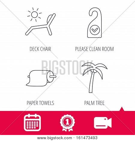 Achievement and video cam signs. Palm tree, paper towel and beach deck chair icons. Clean room linear signs. Calendar icon. Vector