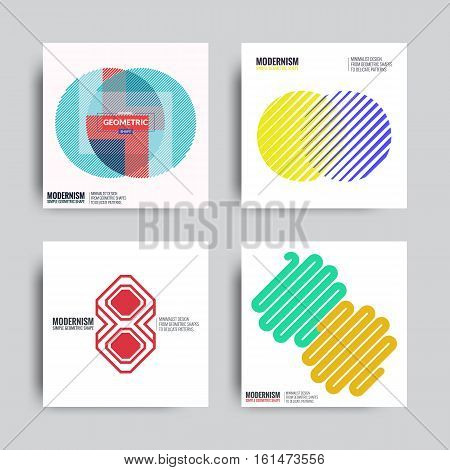 Abstract Poster Set. Backgrounds in Retro Swiss Flat Style. Isolated Geometric Shape, Logo Covers, Posters, Designs. Vector Electric Color Illustration Golden Golden Yellow, Violet, Orange, Green