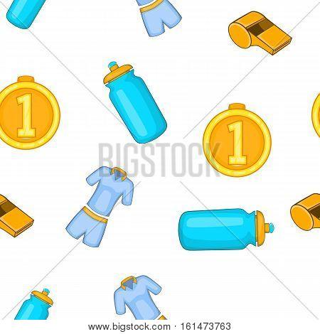 Tennis elements pattern. Cartoon illustration of tennis elements vector pattern for web