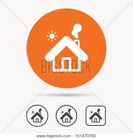 Home icon. House building symbol. Real estate construction. Orange circle button with web icon. Star and square design. Vector