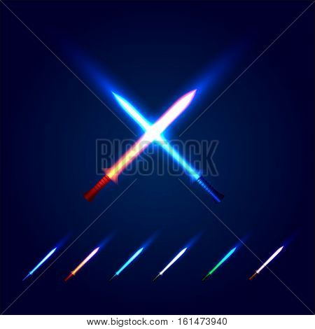 Isolated blue and red color cossed light swords logo. Futuristic movie weapon logotype set. Sabre with fire force icon. Lightsaber signs collection. Scifi shiny neon longsword vector illustration