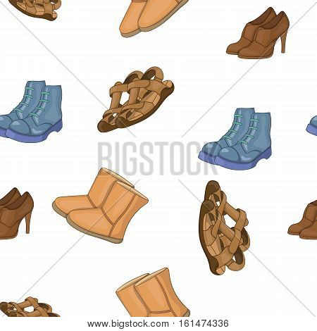 Different types of shoes pattern. Cartoon illustration of different types of shoes vector pattern for web
