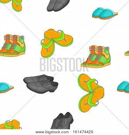 Footwear for different seasons pattern. Cartoon illustration of footwear for different seasons vector pattern for web
