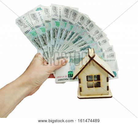 house model dollar cash russian money in hand real estate concept